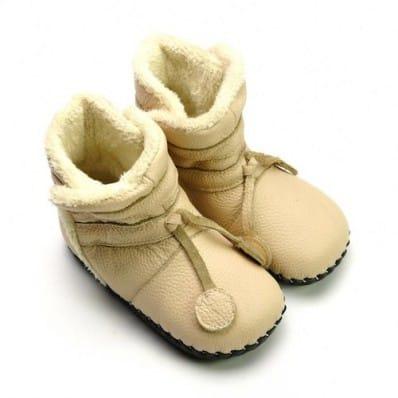 FREYCOO - Scarpine primi passi bimba in morbida pelle | Stivaletti inverno beige
