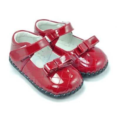 FREYCOO - Chaussures premiers pas cuir souple | Rouge brillant cérémonie