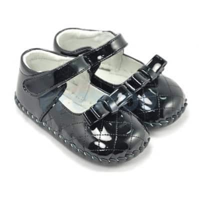 FREYCOO - Chaussures premiers pas cuir souple | Noir brillant cérémonie