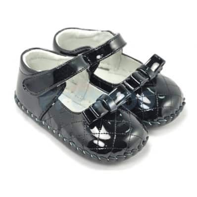 FREYCOO - Krabbelschuhe Babyschuhe Leder - Mädchen | Schwarz Zeremonie