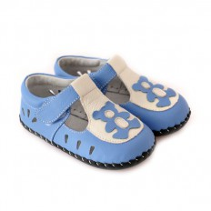CAROCH - Krabbelschuhe Babyschuhe Leder - Jungen | Blauer kleiner Bär