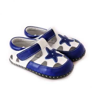 CAROCH - Zapatos de bebe primeros pasos de cuero niños | Sandalias estrella azul