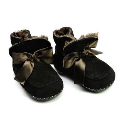 FREYCOO - Chaussures premiers pas cuir souple | Bottines fourrées noires