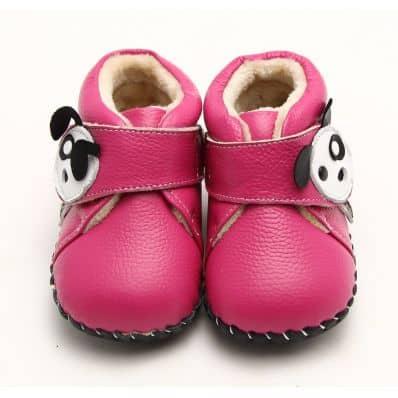 Chaussures premiers pas cuir souple bottines fourrées Chien Girly