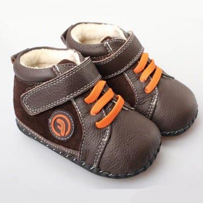 FREYCOO - Chaussures premiers pas cuir souple | Montantes marron lacets orange
