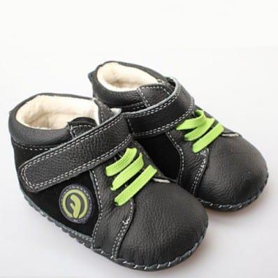 FREYCOO - Chaussures premiers pas cuir souple | Montantes noires lacets vert