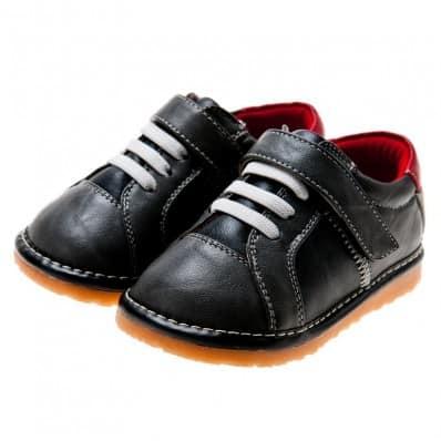 Little Blue Lamb - Zapatos de cuero chirriantes - squeaky shoes niños   Zapatillas de deporte negras talón blanco