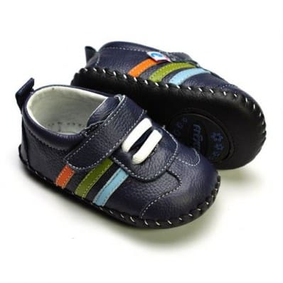 Chaussures premiers pas cuir souple baskets 3 bandes
