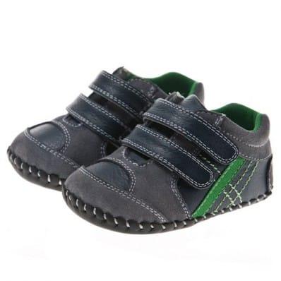 Little Blue Lamb - Krabbelschuhe Babyschuhe Leder - Jungen | Schwarze Turnschuhe grüner Streifen