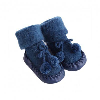 Chaussons-chaussettes douceur Navy C2BB - chaussons, chaussures, chaussettes pour bébé