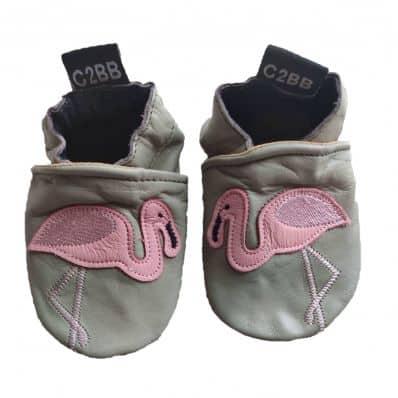 Chaussons en cuir souple FLAMAND ROSE C2BB - chaussons, chaussures, chaussettes pour bébé